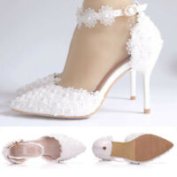 Women Ankle Strap Lace Pearl High Heel Stiletto Wedding Party Shoes Plus Size