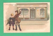 EARLY VINTAGE FRENCH ADVERTISING POSTCARD CHOCOLAT LOMBART BOYS STOREFRONT