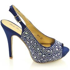 Womens Wedding Shoes Peep Toe Platform Heel Ladies Party Prom Slingback Sandals