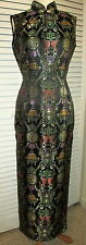 NEW MAXI DRESS *EAST SUN* CHINESE FITTED BLACK  MULTI COLOR NEEDLE WORK  SZ 6