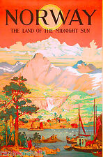 Norway Land of Midnight Sun Norwegian Scandinavia Travel Poster Advertisement
