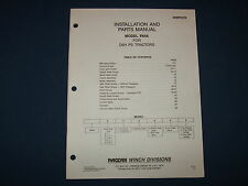 PACCAR PA56 WINCH INSTALLATION & PARTS BOOK MANUAL FOR D6H PS TRACTORS