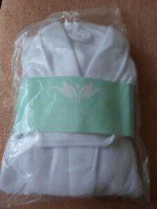Plush Polar Fleece Bath Robe in White One Size Fits All
