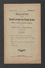 █ Bulletin Société LORRAINE Etudes Locales 1931 N°9 █