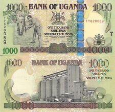 Uganda P43a, 1000 Shilling, farmer with hoe / Grain silo, holographic strip $3CV