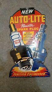 """Porcelain Auto-Lite Spark Plug Enamel Sign Size 12"""" x 7"""" Inches"""