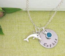 Nombre Personalizado De Niños Encanto Colgante Con Delfín Piedra Collar Regalo