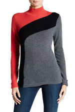 Cullen Swirl Colorblock Mock Neck Cashmere Sweater M NWT $288