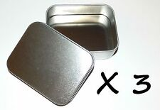 3 X 4-oz Rectangular Slip Lid Survival Metal Tin Can Container Box Kit Craft Use