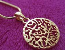 Round Shema Israel Gold Tone Pendant Chain Judaica Evil Eye Protection Prayer