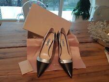 Prada Noir/Argent Cuir Chaussures A Talons Aiguilles UK6