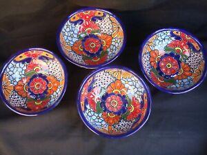 4pc Talavera Bowls Soup Cereal Pozolero Kitchen Mexican Pottery Folk Art 6.5