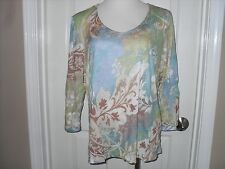 New Chico's Paisley Colors VeronicaTop Blouse 3 (16-18) XL Blue Green Brown NWT