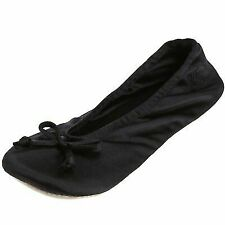 isotoner Women's Classic Satin Ballerina SLIPPER XL Black