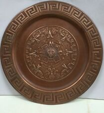 Mayan Calander Engraved  On Copper Plate 11.5 Inches Diameter