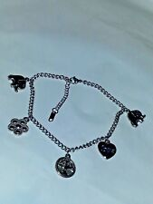 SILVER STAINLESS STEEL LUCKY CHARM ANKLET BRACELET SIZE 9""