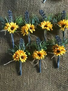 Artificial Sunflower lavender Buttonhole, Corsage, Groom, Wedding Party x7