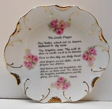 The Lords Prayer Plate with 18K Gold Trim and Pink Roses Vintage