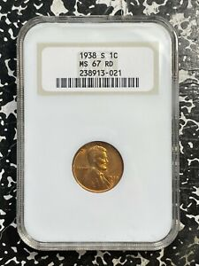 1938-S U.S. Lincoln Penny Wheat Cent NGC MS67 Red Lot#FM159 Gem UNC!