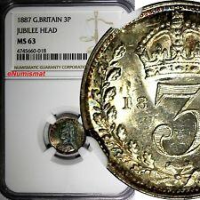 Great Britain Victoria Silver 1887 3 Pence NGC MS63 JUBILEE HEAD RAINBOW KM# 758