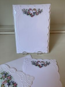 Rare Vintage Carol's Rose Garden 10 EMBOSSED Panel Cards & Envelopes ~ Wreath