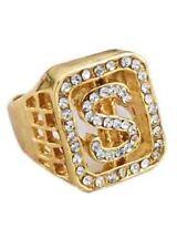 Fake Gold Diamante Dollar Sign Ring Pimp Big Daddy Gangster FancyDress Accessory