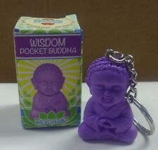 "POCKET BUDDHA FIGURINE KEYCHAIN ""WISDOM"" (PURPLE) BUDDHA"