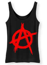 Anarchy Tank Top SCREENPRINTED Ladies Womens Rock Punk vest Biker