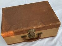 "Vintage Suitcase 15"" brown old light weight luggage storage travel hobby prop"