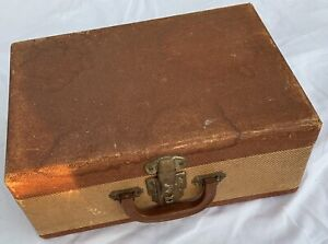 """Vintage Suitcase 15"""" brown old light weight luggage storage travel hobby prop"""