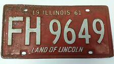 1961 ILLINOIS License Plate Tag FH 9649 IL