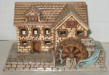 Vintage Ceramic Grist Mill Water Wheel Christmas Village House Figurine Figure