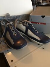 New NIB PRADA Calzature Uomo Nero Aregento Sz 7 Blue Grey America's Cup Shoes