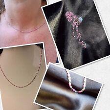 Collier Ras De Cou Réglable Argent Acier  Et Perles Rose Flashy Ref.gigi2 Promo