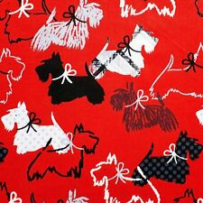 Benartex Red Dottie Scottie cotton print fabric dog tartan Scottish Terrier 1m