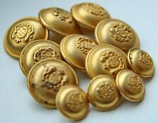 """Group Of 12 Vintage Golden Tone Buttons ''Coat Of Arms"""" 15 mm 23 mm"""