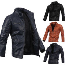 Hombre Chaqueta De Motero PU SintéTico Cuero Moto Acolchado Negro Abrigo