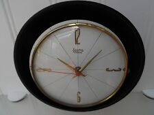 50's/60's BATTERY WALL CLOCK, Vintage BLACK & BRASS METAL, Retro HALL, LOUNGE