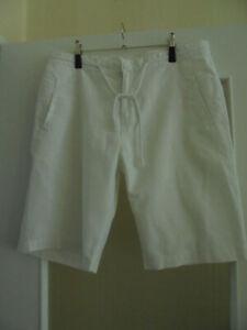 Shorts Bermuda Zugband 55 % Leinen Weiß Gr. XXL / XXXL