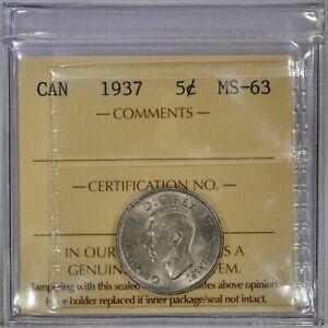 CANADA 5 CENTS 1937 (ICCS MINT STATE 63) *PREMIUM QUALITY*