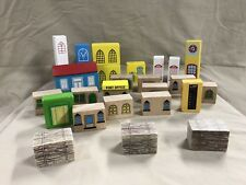 Wood Block Buildings Compatible with Thomas Wooden Railway Trains Engines & Brio