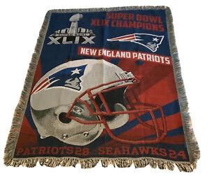"NFL New England Patriots Superbowl XLIX 46"" X 60"" WOVEN Jacquard Blanket Throw"
