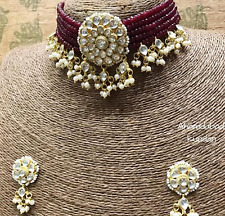 Bollywood Gold Plated Jewelry Indian Pachi Kundan Polki Red Bridal Necklace Set