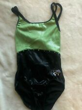girls Gk Elite Foil Leotard gymnastics Child Large Cl black green Shawn Johnson