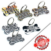 Pet ID Tags Animal Print Pet Tag Personalised Metal Dog Name Discs Collar Tag
