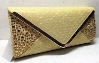 New Ladies Gold glitter diamante clutch bag handbag purse bride wedding prom