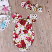 Newborn Infant Baby Girl Flower Romper Bodysuit Jumpsuit Headband Outfit Clothes
