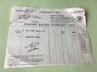 Danish Bacon Company Ltd 1932 Manchester St Barrow Furness Receipt  Ref 49839