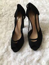 Emporio Armani Heels Open Toe Suede  Leather Black Italy Sz 39.5 US 9