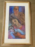 "Armand Schonberger (1885 -1974) ""A Family Portrait"" Watercolor Painting - Framed"